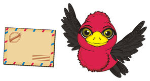 Bird amd message. Red bird fly near the large emprt post message Stock Photo