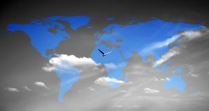 Free Bird And World Map Royalty Free Stock Image - 11812856