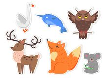 Cartoon Wild Fish, Bird and Animals Collection. Bird, animals and fish isolated stickers on white background. White goose, unicorn fish, brown owl, noble deer Royalty Free Stock Images