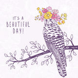 Bird art sketch. Beautiful and cute hand drawn bird with a floral wreath on head. Vector illustration Stock Photos
