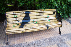 Bird on artistic bench in Santiago Royalty Free Stock Images