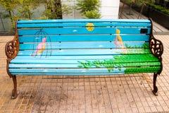 Bird on artistic bench in Santiago Stock Photos