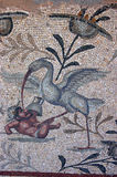Bird attacking gladiator mosaic. A beautifully detailed Roman mosaic of a wading bird attacking a gladiator. The mosaic is in what was the garden of the Villa royalty free stock images