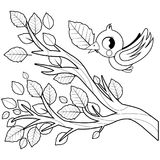 Bird in Autumn flying and tree branch with dry leaves. Black and white coloring book page. A bird flying and a tree branch full of dry leaves. Vector black and vector illustration