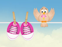 Bird and baby shoes Royalty Free Stock Photos