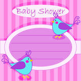 Bird baby shower invitation-girl Stock Photos