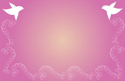 Bird Background. Two birds and swirl pattern, over pink and yellow gradient background Royalty Free Stock Photography