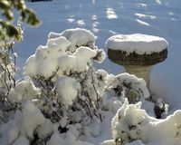 Bird bath, in deep snow, winter. A stone bird bath in a garden, in deep snow, flanked by plants also snow-covered Stock Photo