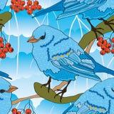 Bird Berry Seamless Pattern Stock Photo