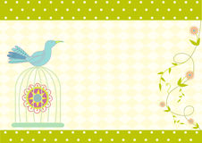 Bird and birdcages and on green cards Stock Photo