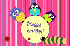 Bird birthday card Royalty Free Stock Photos
