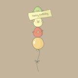 Bird Birthday Greeting Card. Birthday card with cute birds flying on a balloon. Vector Royalty Free Stock Photos