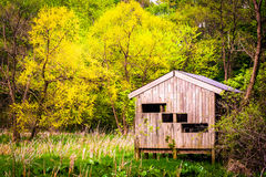Bird blind and spring color at Wildwood Park in Harrisburg, Penn Stock Photo