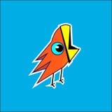 Bird on blue background. Orange bird on blue background. Bright childrens picture Royalty Free Stock Photo