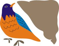 Bird of Blue Orange and Brown Side Stock Photos