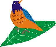 Bird of Blue Orange and Green Leaves. Bird of Blue Orange is standing on Green Leaves. It's look like natural. This is a unique image Royalty Free Stock Images