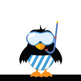 Bird with blue shorts and a diving mask Royalty Free Stock Photography