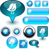 Bird blue signs. Bird blue vector glossy icons Royalty Free Stock Photo