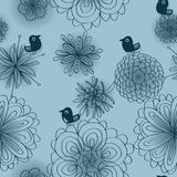 Bird Blue Silence Seamless Pattern Stock Images