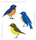 Bird Bluetail Set Cartoon Vector Illustration Stock Photo