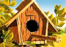 Bird box on branch. Highly detailed cartoon background 40 - illustration vector illustration