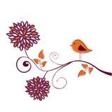 Bird on a branch. Stylish card Royalty Free Stock Photos
