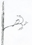 Bird On Branch 2. An illustration of a bird on a branch Royalty Free Stock Photography