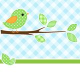 Bird on branch. Card with bird on branch with textile background vector illustration