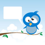 Bird on a Branch. Illustration of a lonely bird on a branch with a speech bubble Royalty Free Stock Photo