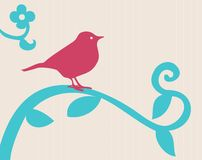 Bird on a branch. With a flower above him. If you get the additional format, each object is on a different layer, so you can change colours or move things stock illustration