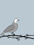 Bird on a branch. Illustration of a dove sitting on a stylised branch vector illustration