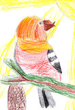 Bird on branch. child drawing Royalty Free Stock Photos
