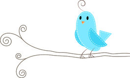 Bird on branch. A cute blue bird catches on branch stock illustration
