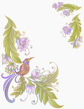 Bird on branch.Flowers. Natural background.pastel colors Stock Photos