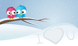 Bird on a branch. Love, snow, winter bird on a branch stock illustration