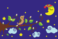 Bird on a branch. Nighttime.Vector cartoon Royalty Free Stock Image