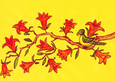 Bird on branch with orange flowers, painting Royalty Free Stock Photo