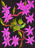 Bird on branch with pink flowers, painting Stock Photo