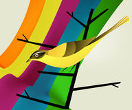 Bird on branch and rainbow Royalty Free Stock Photos