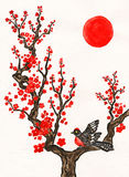 Bird on branch with red flowers, painting. Bird on branch with red flowers on white background, vertical, hand painted picture, watercolours, in traditions of Stock Photo