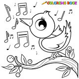 Bird on branch singing coloring page. Stock Images
