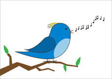 Bird on a branch singing vector. Blue and yellow bird on a branch singing vector Stock Photo