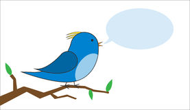 Bird on a branch with a speech bubble vector Stock Image