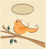 Bird on a branch and speech bubbles. Yellow bird sitting on a tree branch on Stock Images
