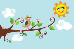 Bird on a branch. Sunny day.Vector cartoon Royalty Free Stock Photos