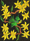 Bird on branch with yellow flowers, painting Stock Photos