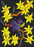 Bird on branch with yellow flowers, painting. Bird on branch with yellow rhododendron flowers on black background, painting, in traditions of old Chinese art royalty free stock photo