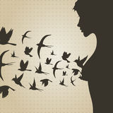 Bird from a breast. Birds take off from a breast of the girl. A vector illustration Stock Images