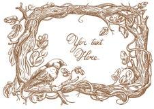 Bird and brunch frame vector sketch. Amadin Bird and brunch frame vector sketch Royalty Free Stock Photos