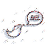 Bird bubble chat message people. Large and creative group of people gathered together in the form of a bird, bubble chat, message 3D illustration, isolated Royalty Free Stock Photo